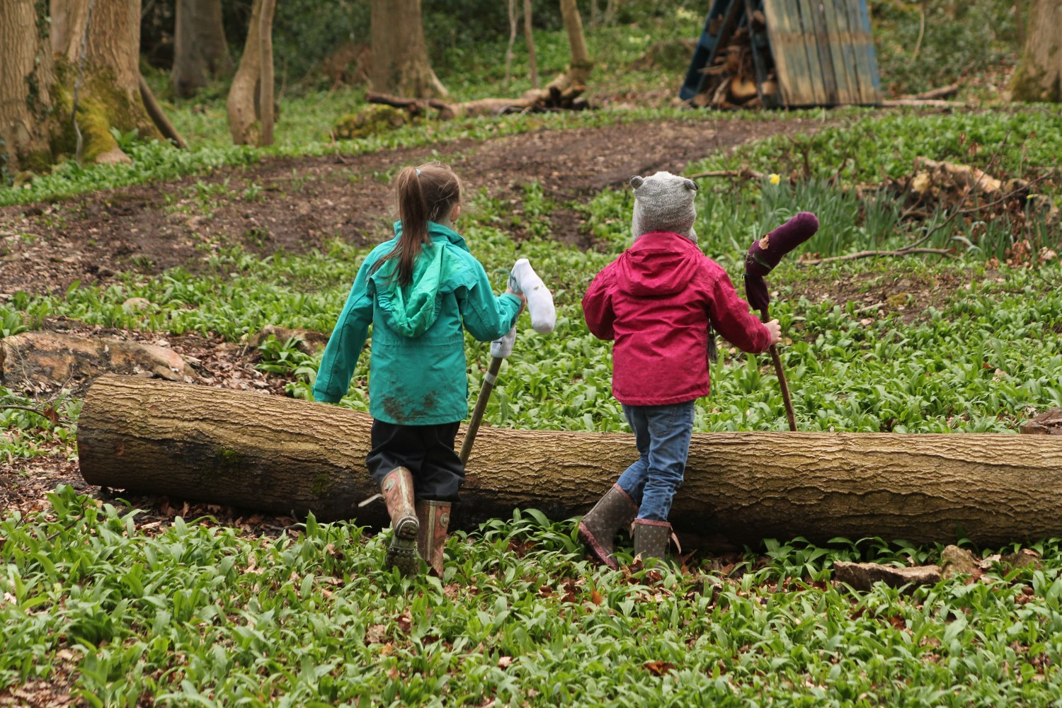 Two children taking part in woodland activities