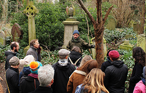 Community group on a guided talk about their cemetery trees